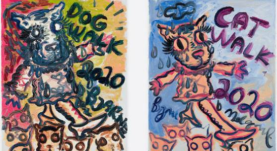 Bjarne Melgaard, Cat/Dog Walk, 2020. Oil paint on canvas. Diptych: 61 x 50 cm (24 x 19,7 in) each