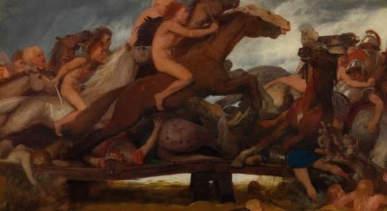 3209 ARNOLD BÖCKLIN Der Kampf auf der Brücke. 1889. Öl auf Holz. 96 x 149,5 cm. CHF 250 000 / 350 000