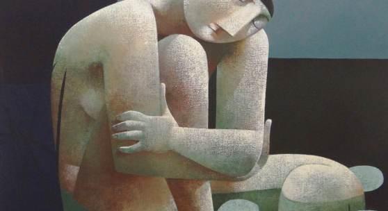 """Dr. Bühler PETER HARSKAMP Geboren 1951 in Den Haag """"Badende mit Seerosen"""" Öl auf Leinwand - 100 x 120 cm Signiert und betitelt rückseitig"""