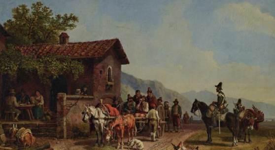 Heinrich Bürkel (1802 – 1869), Räubertransport vor einer Osteria, um 1855/56, 34,5 x 50,5 cm, sign., Taxe 22 000 Euro
