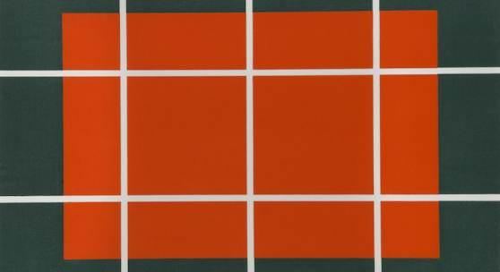 Donald Judd, Ohne Titel, 1992-93 Holzschnitt in Orange und Blau auf Japanpapier Echizen kozo, 57,9 x 80 cm © Stedelijk Museum Amsterdam, Amsterdam