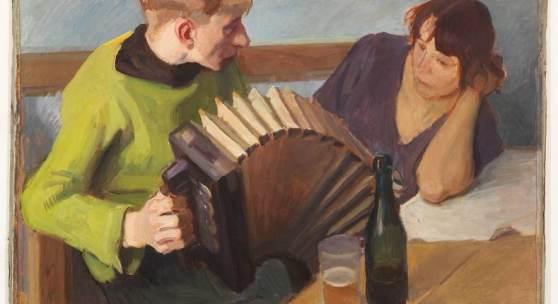 August Mayr-Lenoir: Zieharmonikaspieler mit Dirne, Foto: Annette Kradisch