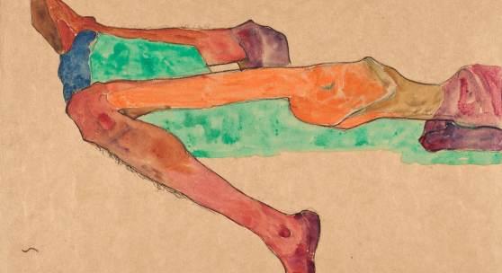 Egon Schiele, Liegender männlicher Akt, 1910, Aquarell und Bleistift auf Papier, 310 x 430