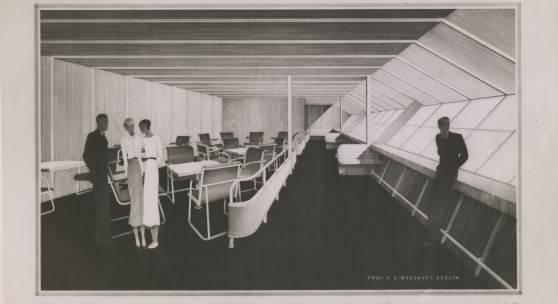 """Cäsar Pinnau, Innenausstattung für das Luftschiff L.Z. 129 """"Hindenburg"""", Halle und Steuerbordpromenade, Hamburgisches Architekturarchiv"""
