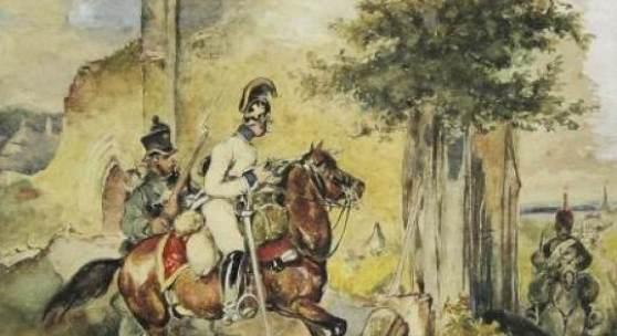 """Katalog-Nr.: 34 Carl Schindler (1821 - 1842) genannt """"Soldaten-Schindler"""" - Aquarell/Bleistift auf Papier, """"Auf Vorposten (Vedette)"""""""