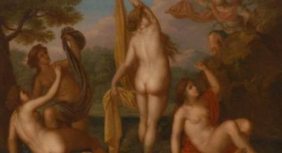 Cervelli, Federico Nachfolge: Diana und Aktaion. Öl/Leinwand, unsigniert, um 1800. In einer idyllischen Landschaft beobachtet der griechische Heros die Göttin der Jagd im Bade mit den Nymphen
