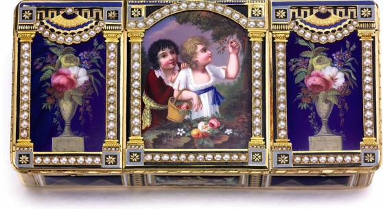 Lot 83 The Cherry Pickers An Exceptional Three Compartment Gold Enamel and Pearl Musical Snuff Box with Concealed Automaton and Timepiece Made for the Chinese Market Attributed to Piguet & Capt The Enamel Painting Attributed to Jean-Louis Richter Circa 1800 Estimate $400,000-600,000