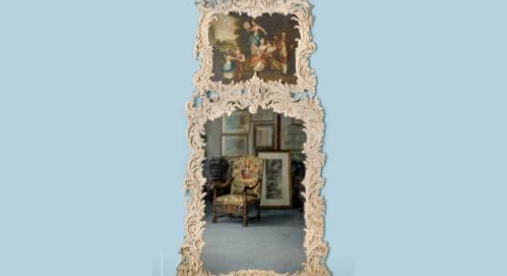 Deutscher Rokoko-Trumeau-Spiegel aus dem 18. Jh. (Friderizianisches Rokoko) nach Art von Johann Michael Hoppenhaupt II 276 cm x 150 cm hoch. Schätzen Sie £ 6.000-8.000