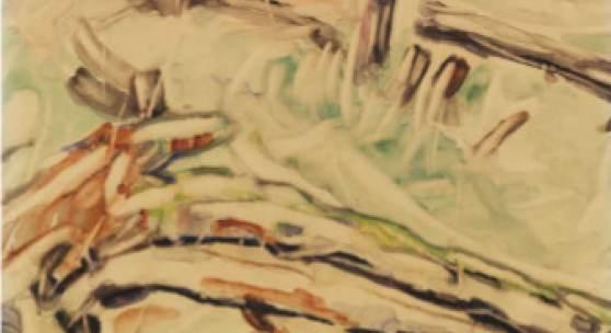 Christian Rohlfs Studie nach einem Baumstamm Aquarell, um 1911, 49 x 63 cm