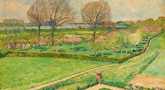 (Lots 174 – 178, ebenfalls bis € 4.000). Max Clarenbach ist mit drei Gemälden präsent, darunter eine 100 v 150 cm große Frühlingslandschaft am Rhein.