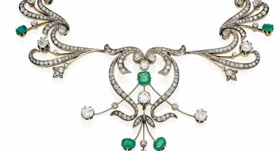 Diamant-Smaragd-Diadem / Collier Mitteleuropa, um 1860/80 Gelbgold und Silber Diamanten im Alt- und Rosenschliff 7 facettierte Smaragde Schätzpreis: 30.000 – 35.000 Euro