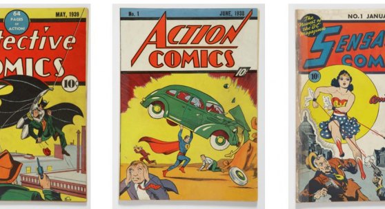 eft to Right: Detective Comics No. 27, the first appearance of Batman, May 1939; Action Comics No. 1, the first appearance of Superman, June 1938; Sensation Comics No. 1, the first appearance of Wonder Woman, January 1942