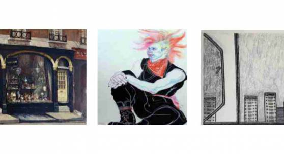 Sarah Colegrave Fine Art: 18 Motcombe Street, Knightsbridge by John Cole, £2,500; Blondes Fine Art: London Punk by Jo Brocklehurst; The Art Stable: View from my window by William Wright
