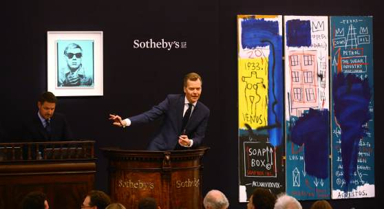Oliver Barker fields bids at Sotheby's Evening Sale of Contemporary Art, 28 June 2017