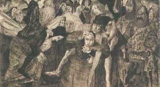 <p>Die Weiber von Weinsberg von Lovis Corinth. Kaltnadelradierung 1894. Strophen 8-10: Zur Zeit der stillen Mitternacht Die sch&ouml;nste Ambassade Von Weibern sich ins Lager macht, Und bettelt dort um Gnade. Sie bettelt sanft, sie bettelt s&uuml;&szlig;, Erh&auml;lt aber nichts, als dies: &ldquo;Die Weiber sollten Abzug han, Mit ihren besten Sch&auml;tzen, Was &uuml;brig bliebe, wollte man Zerhauen und zerfetzen.&rdquo; Mit der Kapitulation Schleicht die Gesandtschaft tr&uuml;b&acute; davon. Drauf, als der Morgen bricht hervor, Gebt Achtung! Was geschiehet? Es &ouml;ffnet sich das n&auml;chste Thor, Und jedes Weibchen ziehet, Mit ihrem M&auml;nnchen schwer im Sack&acute;, So wahr ich lebe! Huckepack. - Die Weiber von Weinsberg gezeichnet von G. Opiz, gestochen von J. Lips. In: Urania. Taschenbuch auf das Jahr 1830. (Sammlung Heinrich Tuitje)</p>