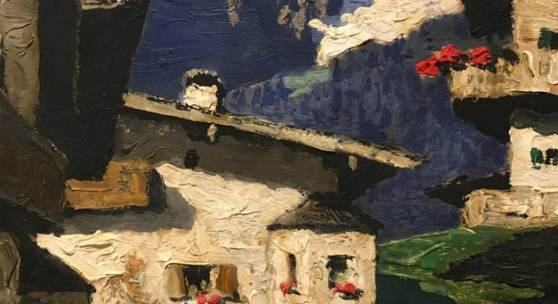 "Alfons Walde, ""Dorfstraße in Kitzbühel"", Öl auf Leinwand, 38,7 x 28,7 cm, rechts unten signiert: A. Walde. Foto: Kunsthandel Freller/ © Bildrecht, Wien 2018"