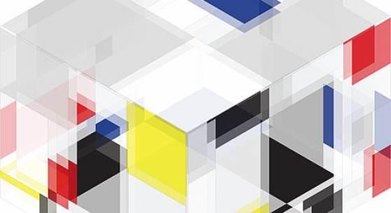 Heimo Zobernig in Kooperation mit Eric Kläring, Piet Mondrian. Eine räumliche Aneignung, 2019 Isometrischer Plan der Raum-Installation für den Lichthof des Albertinum