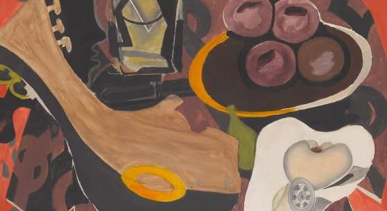 Georges Braque: Le guéridon rouge / Das rote Tischchen (Detail), 1939–1952, Collection Centre Pompidou, Musée national d'art moderne, Paris Schenkung George Braque, 1965 © VG Bild-Kunst, Bonn 2020 © Foto: Centre Pompidou, MNAM-CCI / Georges Meguerditchian / Dist. RMN-GP