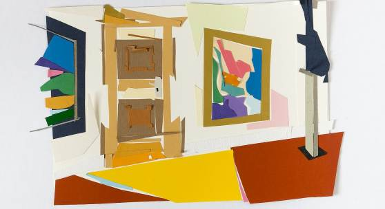 Shapirosaal mit Skulptur, Papierschnitt, 2014, 22,5 x 34 cm