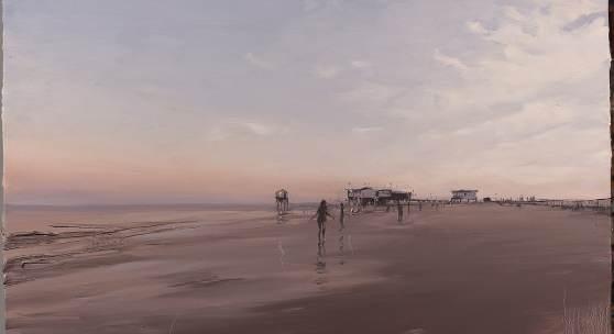 Lars Möller, St. Peter, Abend, 2019, Öl auf Leinwand, 60 x 80 cm