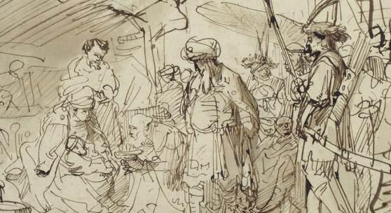Gerbrand van den Eeckhout, Die Anbetung der Könige, um 1635-40, Feder in Braun, braun laviert (Ausschnitt) © Staatliche Museen zu Berlin, Kupferstichkabinett