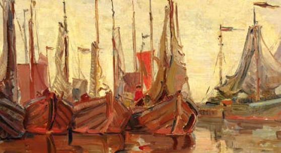 Friederike Koch-Langentreu, Boote im Hafen vor abendlichem Himmel, ca. 1920, Öl auf Leinwand, 50,4 x 61,2 cm plus Rahmen, Foto: Universalmuseum Joanneum/N. Lackner