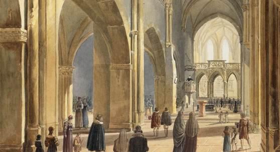 Carl Ludwig Frommel: Das Innere der Schloßkirche St. Michael in Pforzheim, 1824
