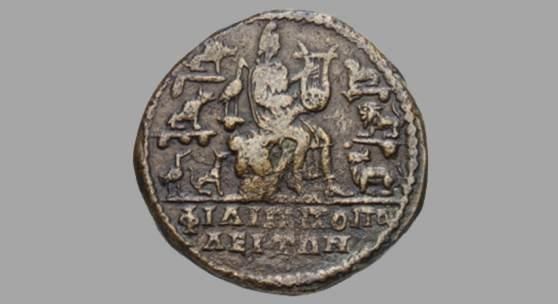 Der thrakische Sänger Orpheus umgeben von Tieren, Bronzemünze von Philippopolis, 209-211 n. Chr. © Staatliche Museen zu Berlin, Münzkabinett