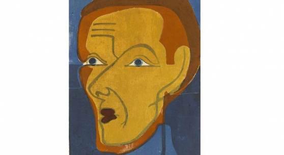 Ernst Ludwig Kirchner, Selbstbildnis, 1932, Farbholzschnitt in Schwarz, Blau, Rot, Rotbraun und Ocker auf elfenbeinfarbenem Japanpapier, Staatsgalerie Stuttgart, Graphische Sammlung