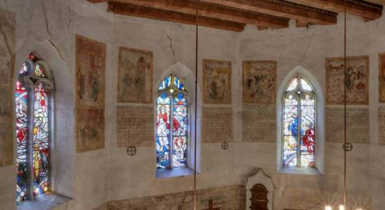 vDie kostbaren Wandmalereien in der Kirche St. Andreas und Stephani in Wansleben © Roland Rossner/Deutsche Stiftung Denkmalschutz