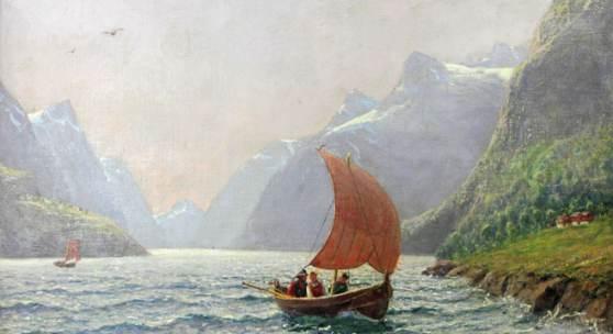 DAHL, HANS (1849-1937): Frische Brise - Norwegische Fjordlandschaft mit heimkehrendem Segelboot.