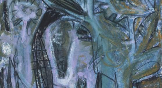 O.T., Serie Art&Ort, Übermalgeschichten, 1994, Ölfarbe, Tusche, Stifte auf Tiefdruck auf Bütten, 98x98 cm
