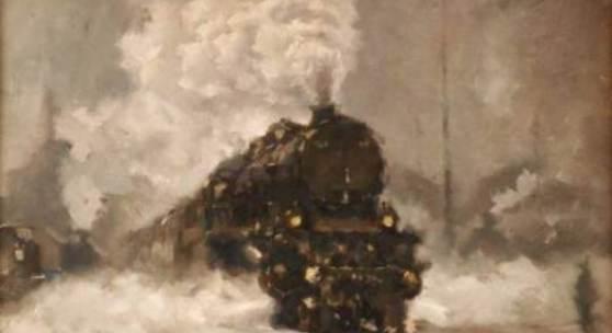 """ID: 2330 Dampfmaschine im Winter, Vilem Kreibich von - bis: 2011-12-03 14:04:00-2011-12-03 14:05:59 Kategorie: gemälde Öl auf Karton, unten rechts signiert """"V. Kreibich"""", Vilem Kreibich (*1884 Zdice - +1955 Prag), Böhmen, 40x32 cm, gerahmt, verglast. Zustand 2 Schätzung: 600.00 (EUR) Limit: 400.00 (EUR)"""