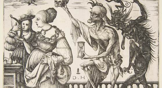 Daniel Hopfer: Tod und Teufel überraschen zwei Frauen, 1500–1510  16 x 22,7 cm Radierung  (The Metropolitan Museum of Art, New York)