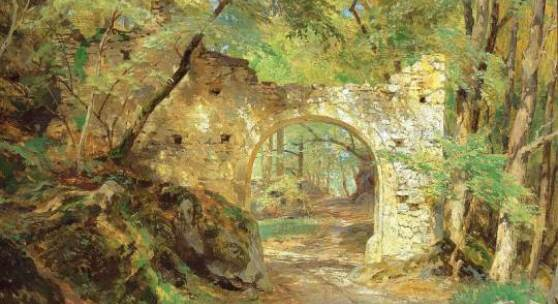 """Hugo  Darnaut 1851 - 1937 """"Torbogen der Burgruine Merkenstein"""" Öl auf Platte, signiert, 48 x 65 cm"""