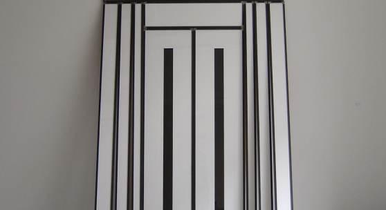 Alfonso Hüppi, Tor für Max Bill | 1993  Tischlerplatte, Acryl, Glas, Eisen 265 x 162 cm
