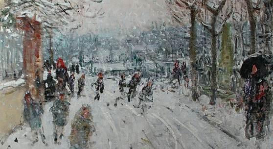 Galerie Delvaille, Pierre-Eugène Montézin (1874-1946) Promeneurs sous la neige Oil on canvas, signed lower right. 60 x 73 cm.