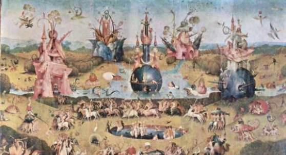 """Bosch, Hieronymus  Der Garten der Lueste Renaissance   Das Gemälde """"Der Garten der Lueste"""" von Hieronymus Bosch als hochwertige, handgemalte Ölgemälde-Replikation. Originalformat: 220 x 195 cm"""