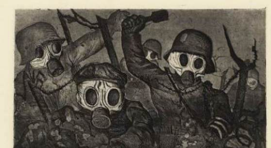 Otto Dix (1891 – 1969) Sturmtruppe geht unter Gas vor, 1924 Radierung, 353 x 475 mm © Hamburger Kunsthalle / bpk Photo: Christoph Irrgang