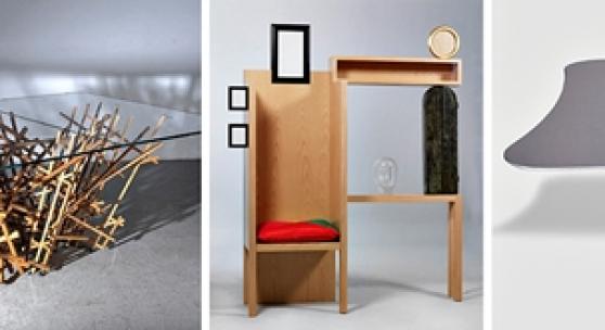 "Don S. Shoemaker, Lounge-Sessel Mexiko um 1960, € 16.000; Mock-up (Vorführmodell) zum Tischentwurf ""Kigumi Table"", Entwurf Kengo Kuma, 2018,  € 18.000;  ""Solus""-Möbelobjekt, Entwurf Mimmo Paladino, 1989, € 22.000; ""Sniper""-Tisch, Entwurf David Adjaye, 2015, € 50.000; Prototyp -""4Olga""-Sessel, Entwurf William Sawaya, 2013  € 170.000"