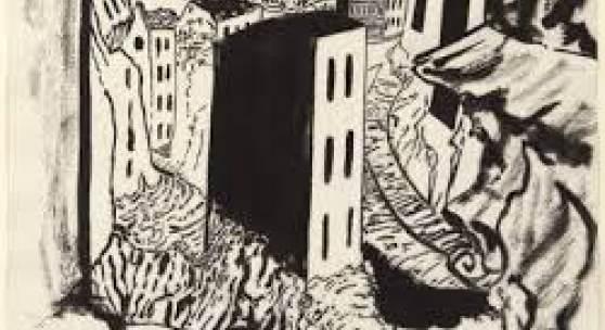Werner Heldt, Trümmer, 1947, Tuschfeder und Tuschpinsel auf Velinpapier, 28 x 34,9 cm, © VG Bild-Kunst, Bonn 2020, Foto: Kai-Annett Becker