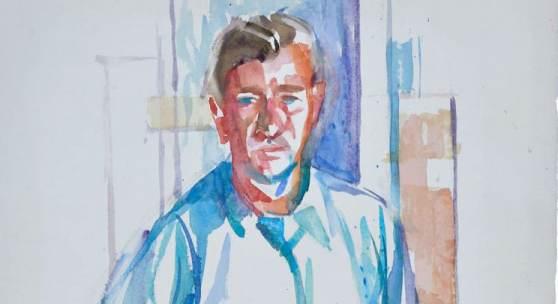 Fritz Griebel: Selbstportrait mit Pinsel, 1950, 59 x 44 cm