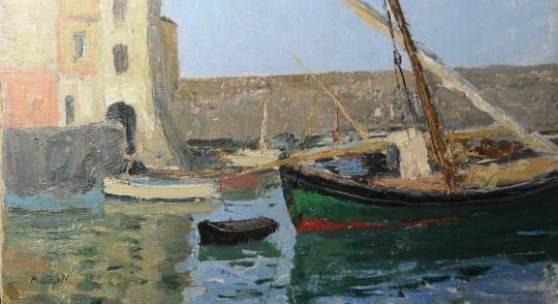 """Alfred Zoff (1852 – 1927) """"Schiffe im Hafen von Comogli"""" Öl auf Karton, signiert, 27 x 41 cm  Zur Verfügung gestellt von: Antiquitäten und Bildergalerie Figl"""
