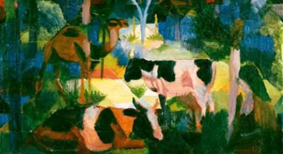 August Macke Landschaft mit Kühen und Kamel, 1914 Kunsthaus Zürich