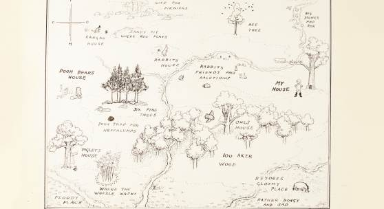 E.H Shepard_ The original map of The Hundred Acre Wood