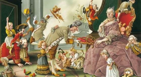 Bruno Haberzettl, Das Kaiserpaar Maria Theresia und Franz I. im Kreise ihrer Kinder. Die Einführung der Schulpflicht war nur eine Frage der Zeit..., 2009 © Bruno Haberzettl