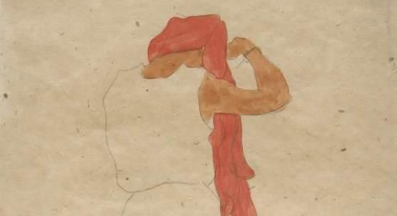 Egon Schiele Stehende beim  Kämmen, 1909 © Sammlung Klüser, München, 2014 Foto: Wienerroither und Kohlbacher