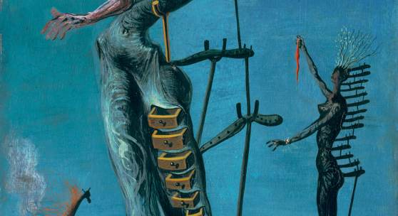 Salvador Dalí, Girafe en feu, um 1936/1937, Öl auf Lindenholz, 35 x 27 cm, Emanuel Hoffmann-Stiftung, Depositum in der Öffentlichen Kunstsammlung Basel, Foto: Martin P. Bühler, Öffentliche Kunstsammlung Basel, © ProLitteris, Zürich