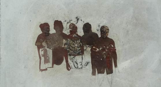 Friedrich Einhoff, Figurengruppe 94, 1994, Acryl, Erde und Kohle auf Leinwand, 540 x 520 mm, © Hamburger Kunsthalle