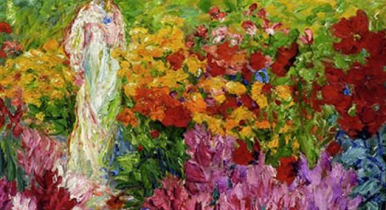 Emil Nolde: Blumengarten, Frau im weißen Kleid en face, 1908,  Courtesy of Osthaus Museum Hagen & Institut für Kulturaustausch, Tübingen, Foto: Achim Kukulies, Düsseldorf